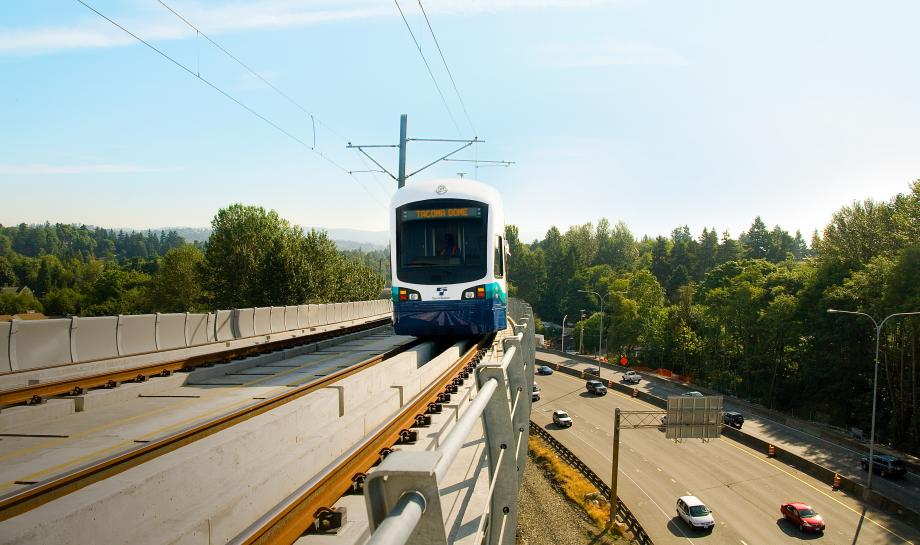 Train on elevated guideway