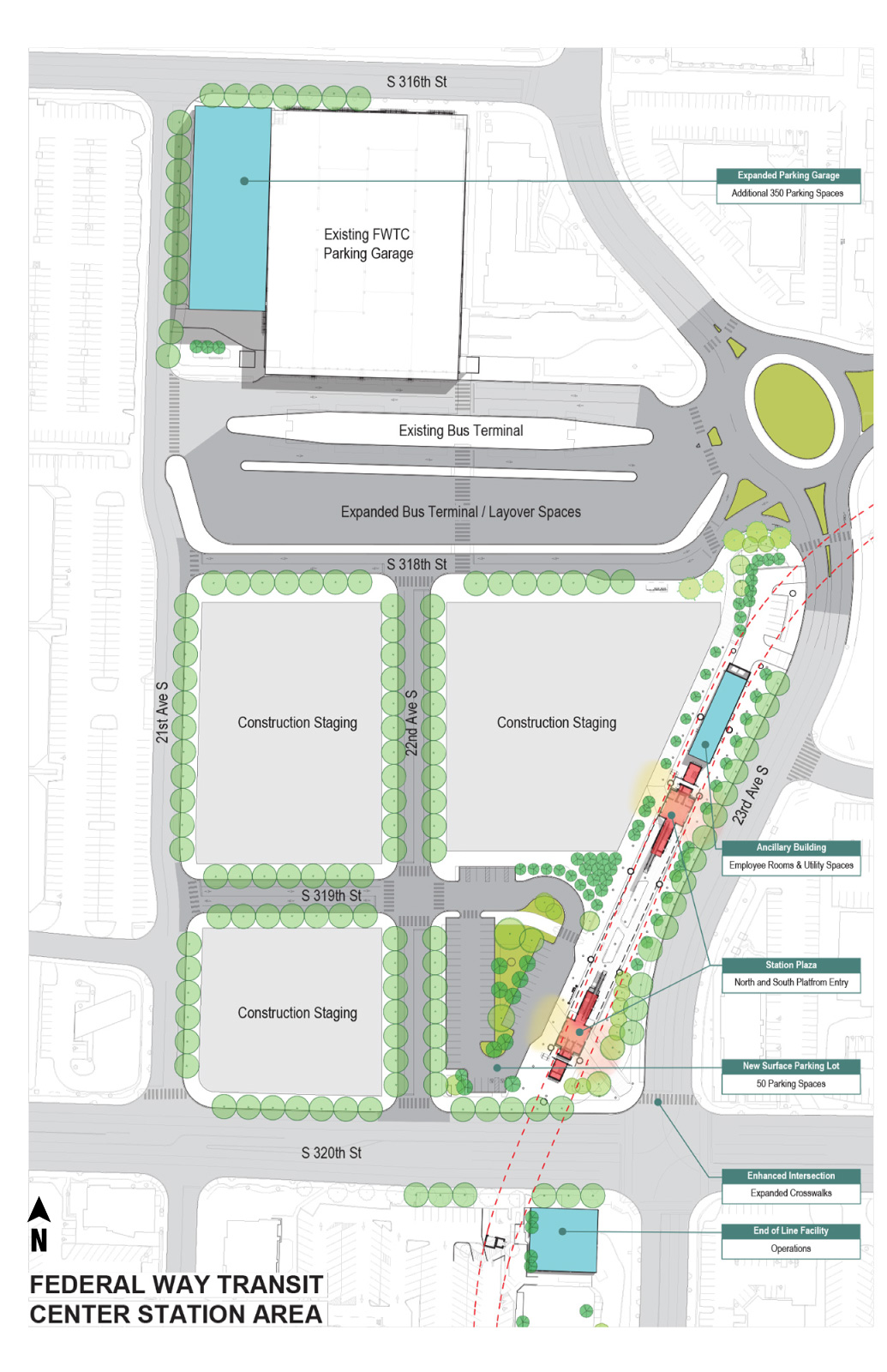 Site plan showing parking garage extension and construction staging area