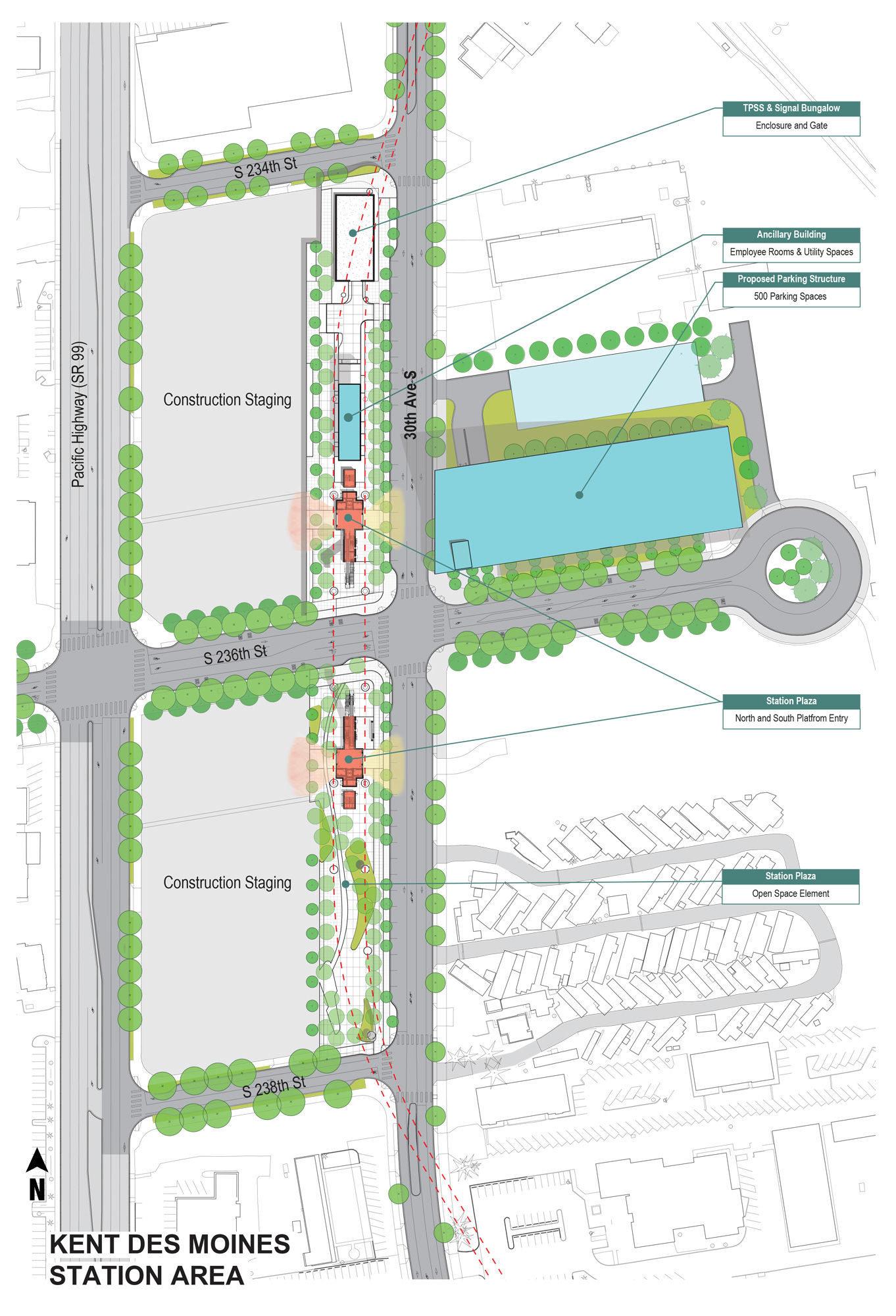Kent Des Moines site plan showing station, parking garage, and construction area.