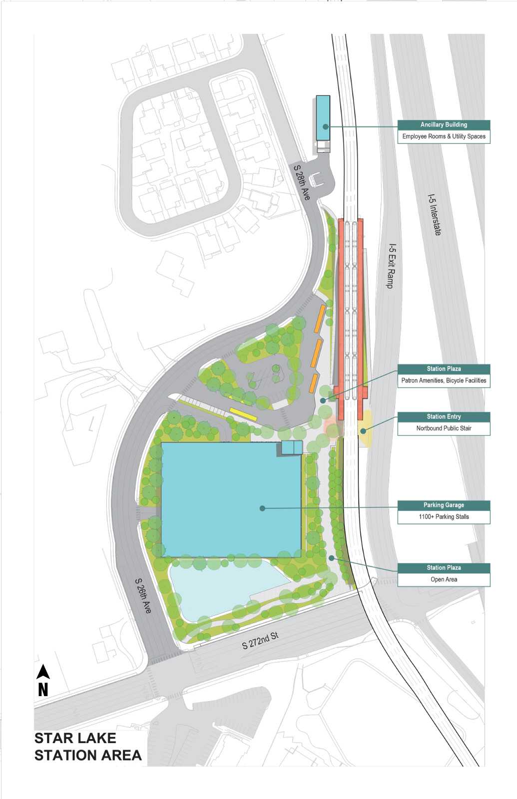 Site plan showing tracks, station and parking garage