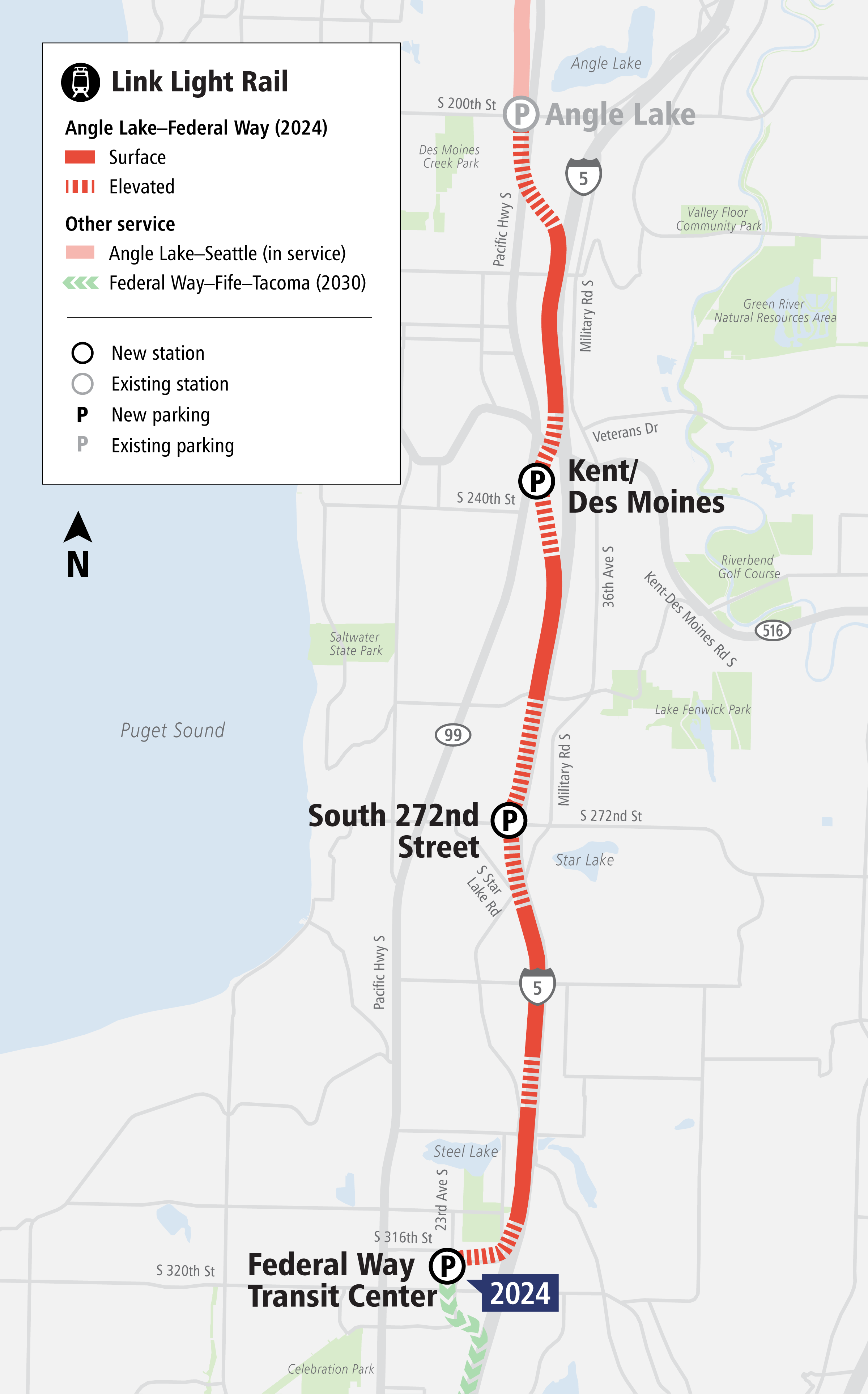 Map of Federal Way Link Extension alignment